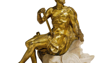 A GILT-BRONZE FIGURE OF VULCAN, ITALIAN, PROBABLY ROME, FIRST HALF 18TH CENTURY