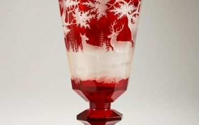 A GOOD LARGE 19TH CENTURY BOHEMIAN RUBY GLASS PEDESTAL