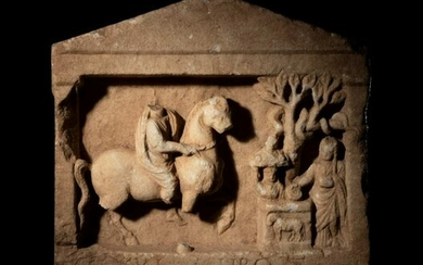 A Greek Marble Relief with a Rider and an Altar Group