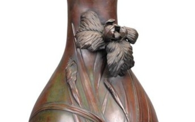 A Japanese Bronze Vase of bulbous form rising to a cylindrical neck with petaloid mouth and resting on a splayed foot