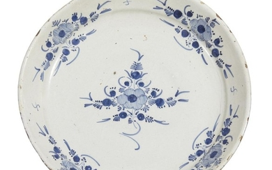 A LARGE DUTCH DELFT BLUE AND WHITE SHALLOW DISH
