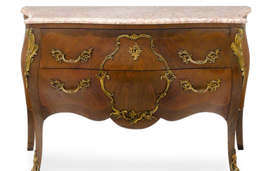 A Louis XV Style Marble Top Gilt Bronze Mounted Walnut Commode