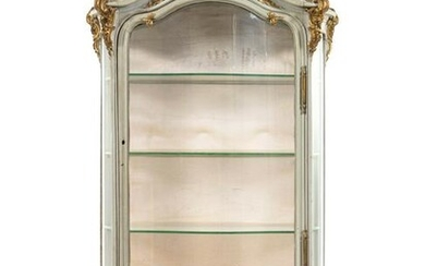 A Louis XV Style Painted and Parcel Gilt Carved Vitrine