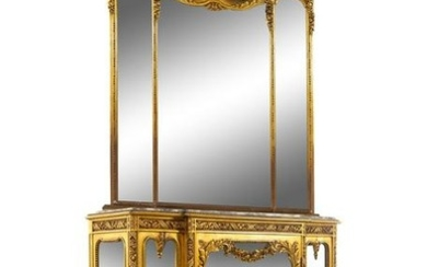 A Louis XVI Style Giltwood Vitrine Cabinet and Trumeau