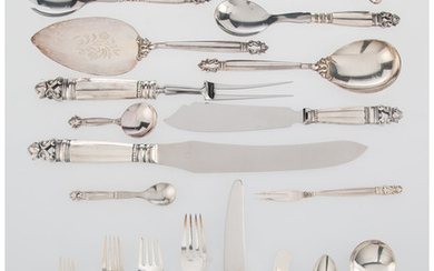 A One Hundred Twenty-One Piece Georg Jensen Acorn Pattern Silver Flatware Service (designed 1915)