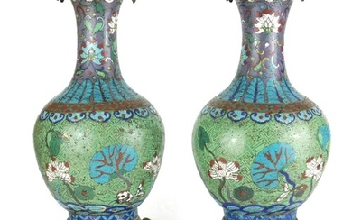 A PAIR OF 19TH CENTURY FRENCH CLOISONNÉ LAMP BASES Fashioned...