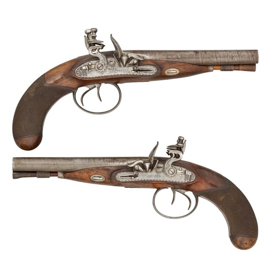 A PAIR OF 32 BORE FLINTLOCK TRAVELLING PISTOLS BY CALVERTS, LEEDS, CIRCA 1830