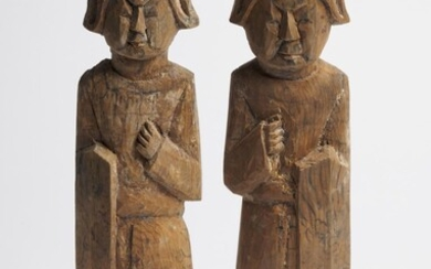 A PAIR OF CHINESE WOODEN FUNERARY FIGURES OF SOLDIERS LIAO DYNASTY (916-1125)