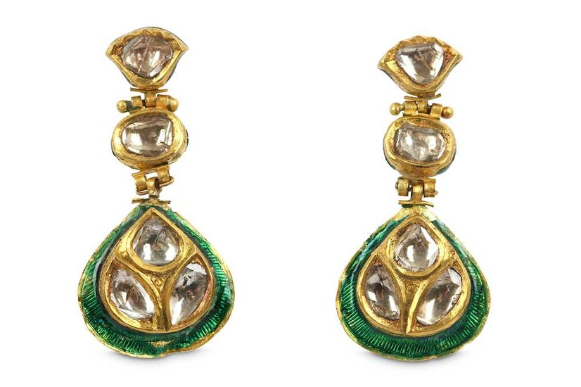 A PAIR OF DIAMOND-ENCRUSTED ENAMELLED EARRINGS India, 20th - 21st century