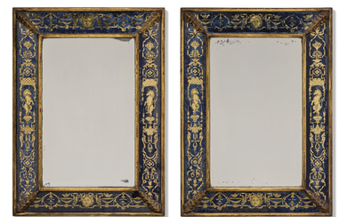 A PAIR OF FRENCH GILTWOOD AND VERRE EGLOMISE MIRRORS, LATE 19TH CENTURY