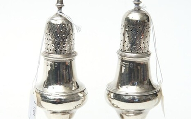A PAIR OF GEORGE III STERLING SILVER PEPPERETTES, MAKER'S MARK RUBBED, LONDON, 1790, EACH WITH A PIERCED AND LATTICE ENGRAVED COVER...