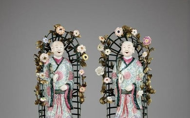 A PAIR OF ORMOLU-MOUNTED CHINESE PORCELAIN FIGURES