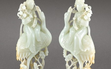 A PAIR OF WHITE JADE FIGURES OF MAGU AND SPINACH-GREEN JADE STANDS 19TH – 20TH CENTURY