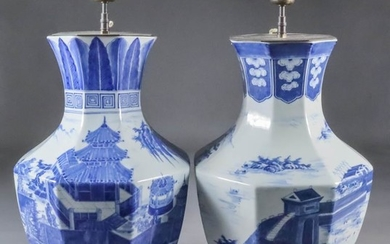 A Pair of Chinese Blue and White Porcelain Octagonal...
