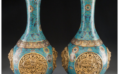 A Pair of Chinese Cloisonné and Gilt Metal Revolving Vases (Qing Dynasty, 19th century)