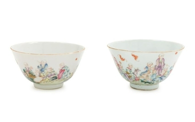 A Pair of Famille Rose Porcelain Cups Diam 3 3/4 in.