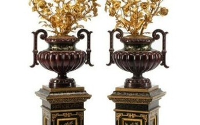 A Pair of French Enameled Cast Iron and Gilt Bronze