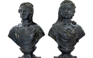 A Pair of French Green Glazed Terra Cotta Busts
