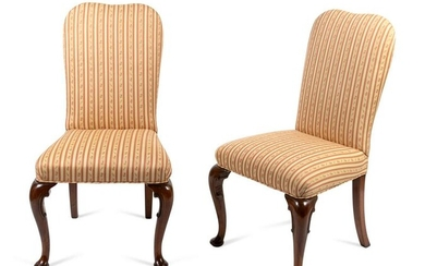 A Pair of George I Style Carved Mahogany Side Chairs