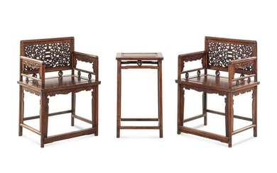 A Pair of HualiÊLow-Backed Armchairs and Matching Stand