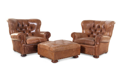 A Pair of Leather Upholstered Wingback Armchairs with Ottoman, Retailed by RH