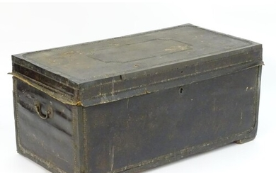 A Regency leather bound camphor wood trunk with brass stud d...