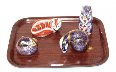 A Royal Crown Derby Imari palette Fox paperweight; with a...