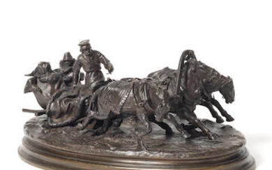 A Russian patinated bronze figural group of a couple in a horse-drawn troika