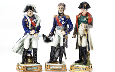 A SET OF THREE GERMAN PORCELAIN FIGURES OF NAPOLEON, NEY AND LANNES, SCHUMANN, DRESDEN, EARLY 20TH CENTURY