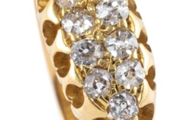 A VICTORIAN DIAMOND RING; belcher set in 18ct gold with 10 Old Mine cut diamonds, size P, top measures 6.4 x 15.2mm, wt. 3.12g.
