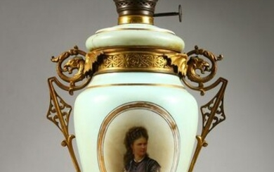 A VICTORIAN GLASS PORTRAIT TWO-HANDLED LAMP. 22ins