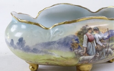 A Vienna porcelain bowl with hand painted decoration, depict...