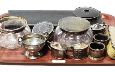 A collection of assorted silver, including: a cased pair of...