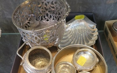 A collection of silver to include a basket, spoons, box (as ...