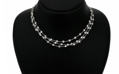 NOT SOLD. A diamond necklace set with numerous brilliant-cut diamonds weighing a total of app....
