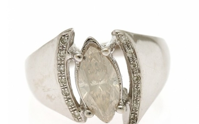 A diamond ring set with a marquise-cut diamond and numerous brilliant-cut diamonds, mounted in 14k white gold. Size 52.