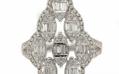 A diamond ring set with numerous baguette and brilliant-cut diamonds weighing a total of app....