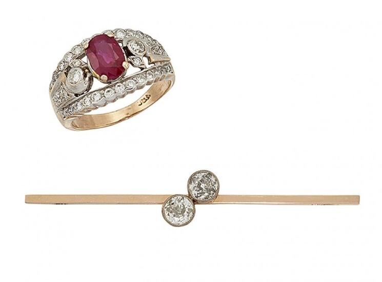 A diamond two stone bar brooch and...
