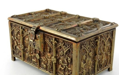 A gilt brass cast casket, in the 13th century reliquary