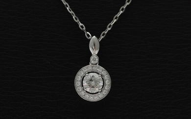 NOT SOLD. A necklace with a diamond pendant set with numerous diamonds weighing a total...