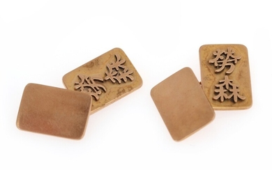 A pair of Chinese cufflinks of 14k gold. App 1.2 x 1.8 cm. Weight app....