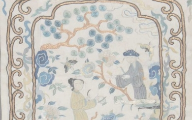 A pair of Chinese silk work panels, and further framed textiles.
