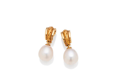 A pair of cultured pearl earclips