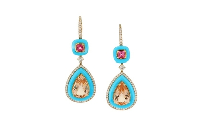 A pair of morganite, pink tourmaline, diamond and turquoise earrings