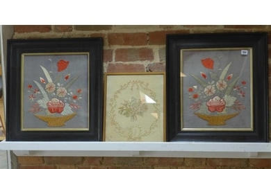 A pair of silk and wool work still life's and a smaller silk...
