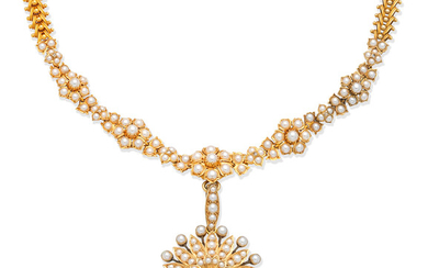 A pearl, seed pearl and diamond pendant necklace