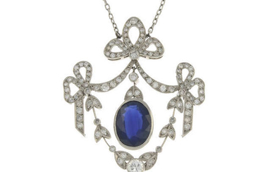 A sapphire and diamond bow pendant, with integral chain.