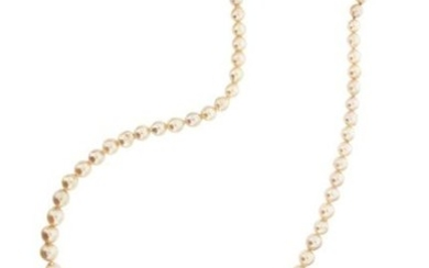 A single-row cultured pearl necklace, with a diamond-set...