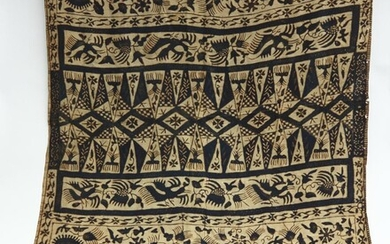 AN EARLY 20TH CENTURY BATIK, SILK , 150 X 90 CM, (A/F), LEONARD JOEL LOCAL DELIVERY SIZE: SMALL