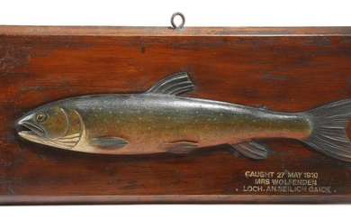 AN EDWARDIAN CARVED AND PAINTED WOOD HALF-BLOCK FISHING...
